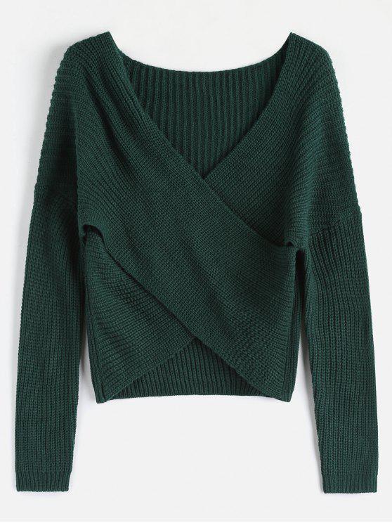 trendy ZAFUL Chunky Knit Overlap Sweater - DEEP GREEN ONE SIZE