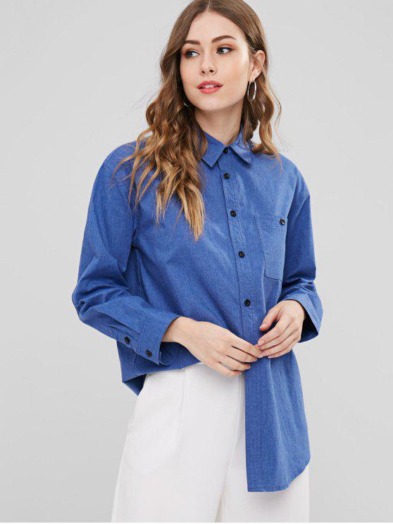 ZAFUL Chemise Boutonnée avec Poche en Denim - Bleu Foncé Toile de Jean S
