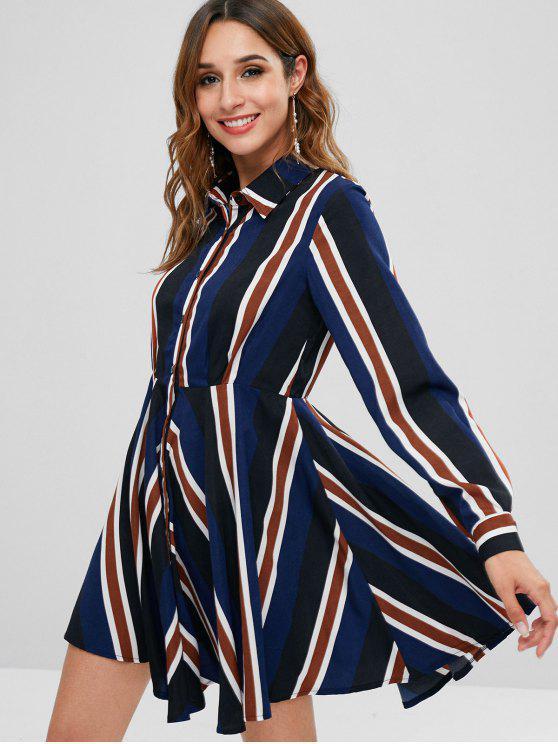 ladies ZAFUL Long Sleeve Stripe Shirt Dress - MULTI M