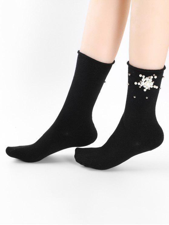 Peúgas florais bonitos do tornozelo da pérola de falso - Preto