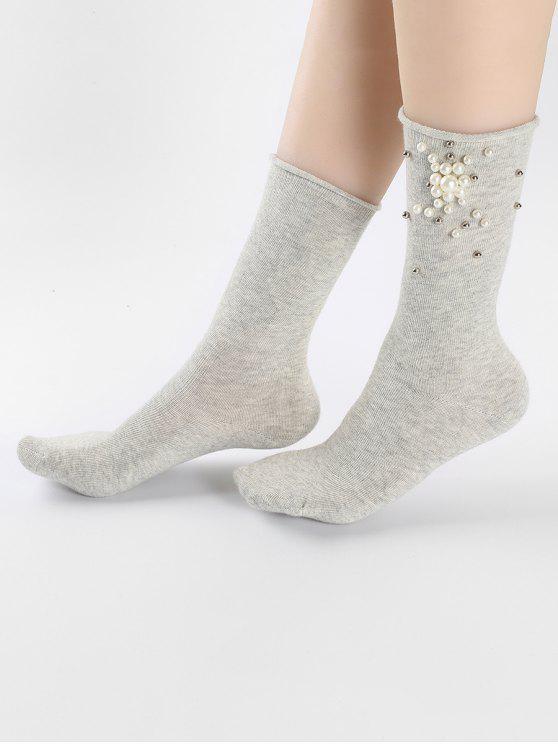 Calcetines florales de imitación perla linda - Gris Claro