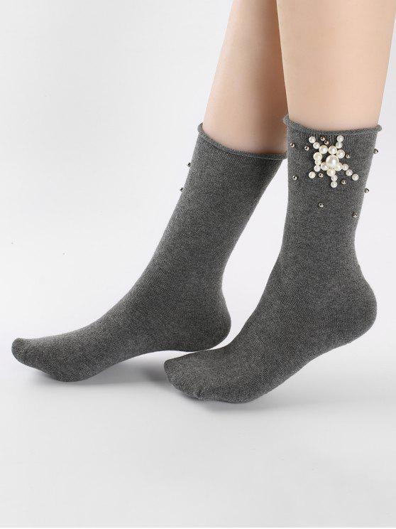 Peúgas florais bonitos do tornozelo da pérola de falso - Cinzento Escuro