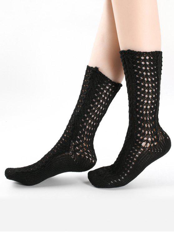 Vintage aushöhlen gestrickte Viertel Socken - Schwarz