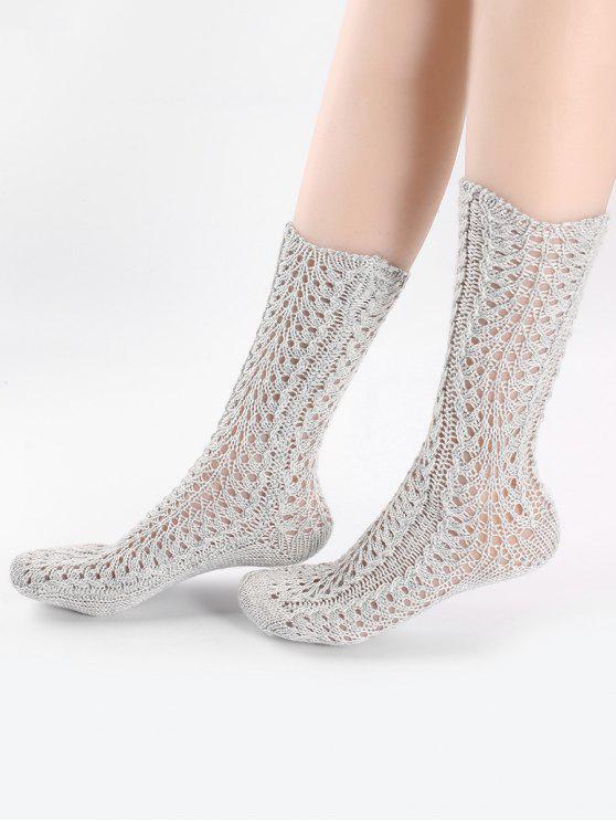 Vintage chaussettes tricotées - Gris Clair