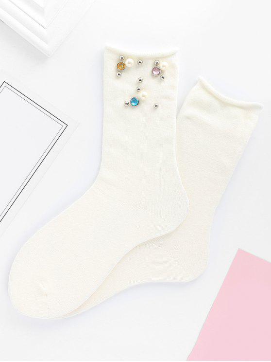 Chaussettes mi-mollet en strass - Blanc