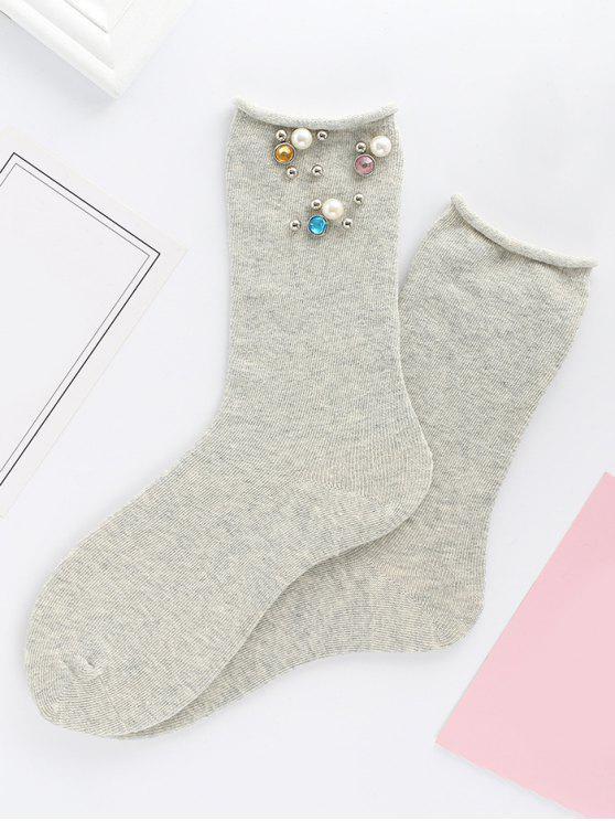 Farbige Strass Faux Pearl Mid Calf Socken - Hellgrau