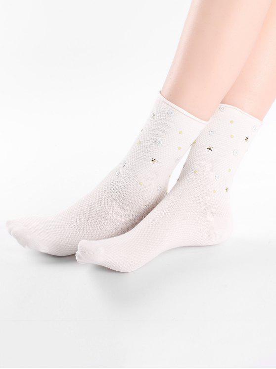 Calcetines tobillo estrella de color sólido vintage - Blanco