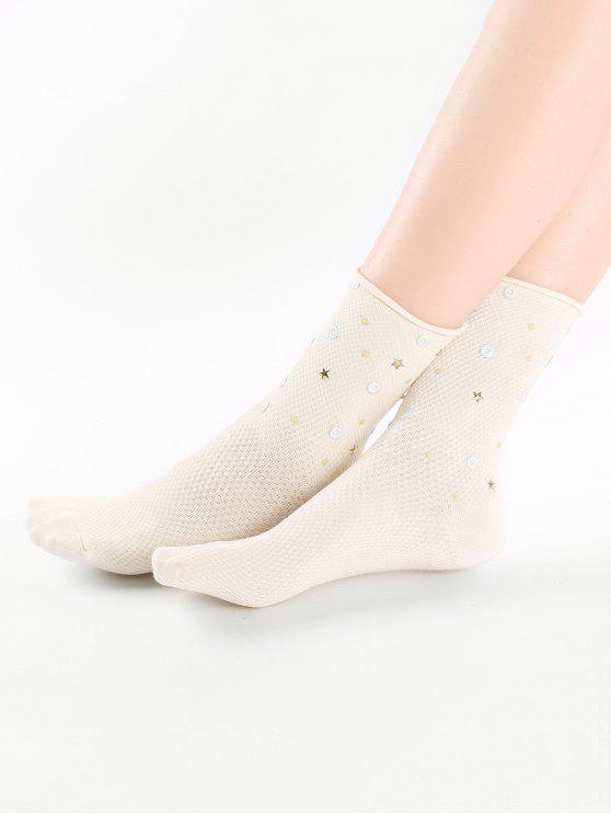 Calcetines tobillo estrella de color sólido vintage - Beige