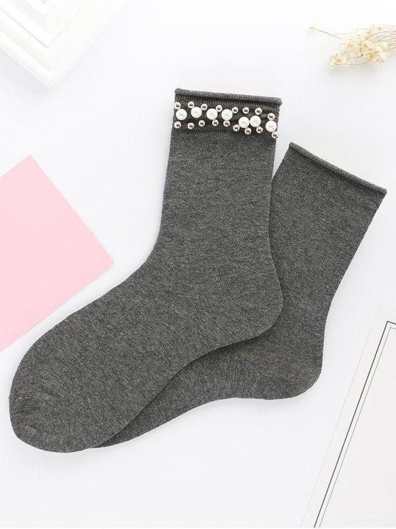 Lindos calcetines de punto de perlas de imitación de perlas - Gris