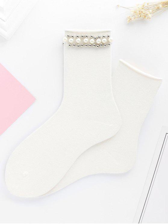 Mignon Faux Perle Tricoté Socquettes - Blanc