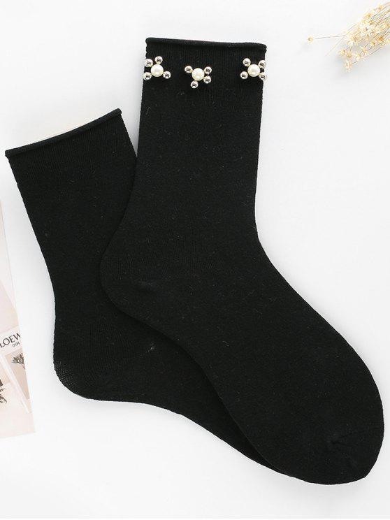 Calcetines de tobillo florales Vintage Faux Pearl - Negro