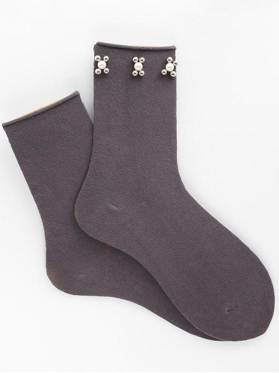 Socquettes en Faux Perles Florales Vintage - Gris