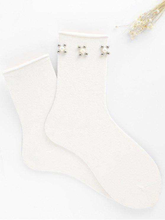 Calcetines de tobillo florales Vintage Faux Pearl - Blanco