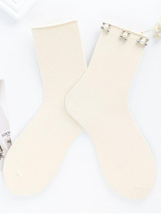 Socquettes en Faux Perles Florales Vintage - Beige