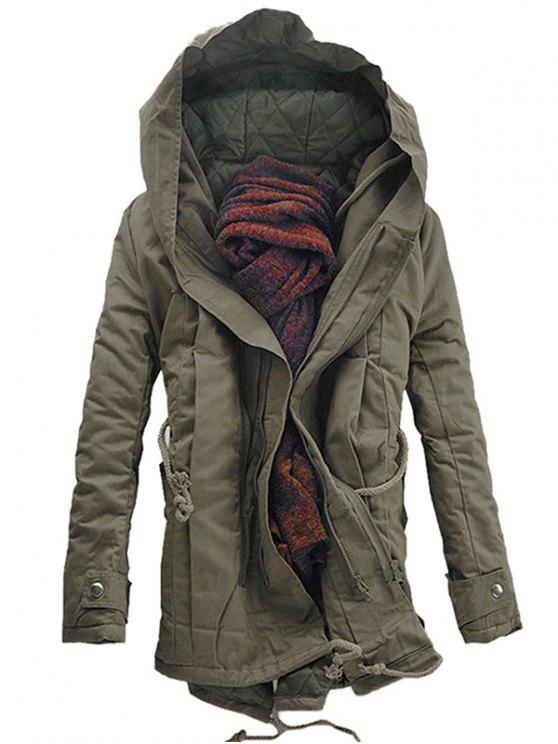 outfit Hooded Padded Double Zip Up Parka Coat - DARK KHAKI XS