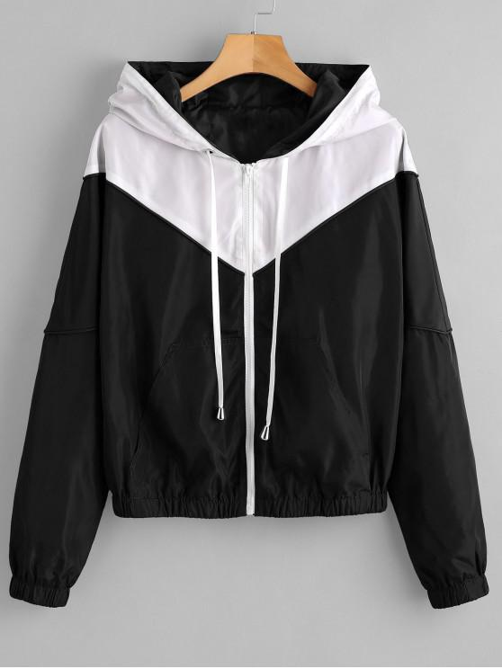 women ZAFUL Zip Up Two Tone Windbreaker Jacket - BLACK L