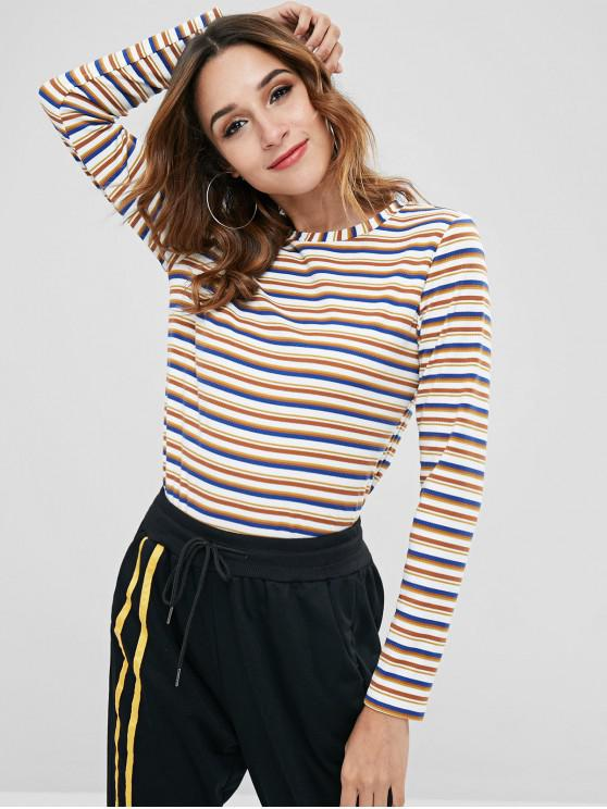 chic ZAFUL Colored Striped Ribbed Long Sleeve Tee - MULTI M