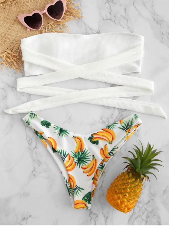 ZAFUL Tie Banana Imprimir Bandeau Bikini Set - Branco L