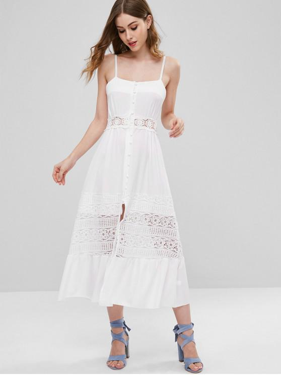 buy Crochet Flower Panel Button Front Midi Dress - WHITE XL