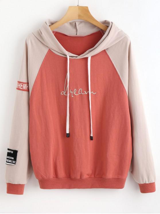 fashion Drawstring Raglan Sleeve Two Tone Hoodie - CHESTNUT RED L