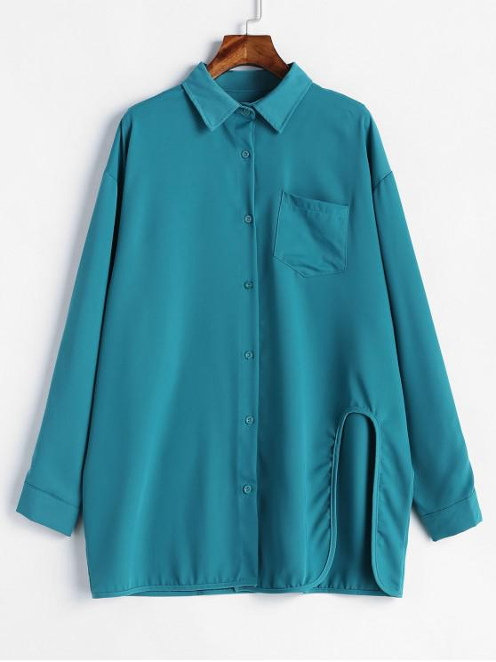 best Side Cut Out Long Sleeve Shirt - PEACOCK BLUE ONE SIZE
