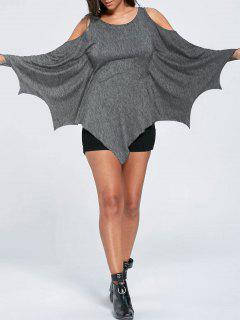 Halloween Cold Shoulder Batwing Top - Heather Gray L