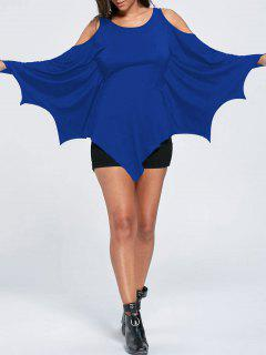 Halloween Cold Shoulder Batwing Top - Blue L