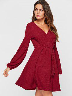 ZAFUL Balloon Sleeve A Line Knit Sweater Dress - Red Wine S