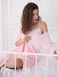 Lace Trim Pajama Dress And Robe Set - Light Pink M