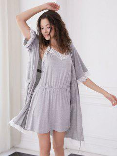 Lace Trim Pajama Dress And Robe Set - Light Gray M