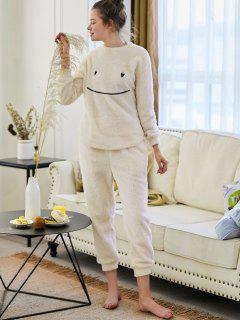 Cartoon Embroidered Furry Pajamas - Beige Xl