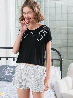 Contrast Striped Pajamas Set - Black Xl