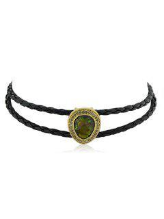 Collar De Gargantilla De Piedra Redonda De Resina - Negro