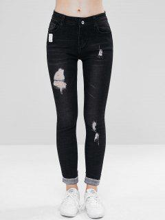 Distressed Cuffed Skinny Jeans - Black S