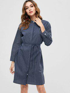 Long Sleeve Striped Drawstring Shirt Dress - Deep Blue
