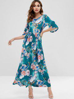 Vestido Largo Floral Con Líneas - Multicolor M
