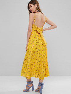 Vestido Maxi Floral Con Aberturas Anudadas - Amarillo Brillante S