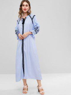 Striped Crochet Trim Long Dress - Sky Blue M