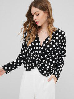 Polka Dot Twist Front Long Sleeve Blouse - Black