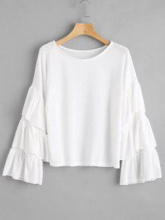 Tiered Flare Sleeves Blouse - White S