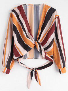 Krawatte Vorne Gestreifte Ernte Bluse - Multi M