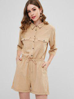 Drawstring Casual Shirt Romper - Light Khaki
