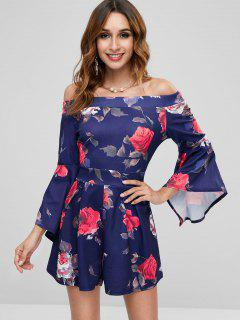 Off  Shoulder Floral Romper - Deep Blue S