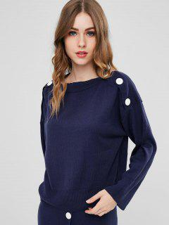 Boat Neck Buttons Sweater - Deep Blue M