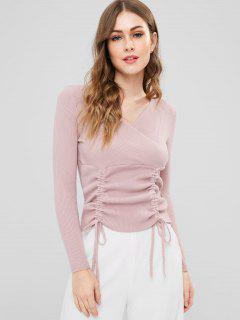 Ribbed Surplice Sweater - Light Pink