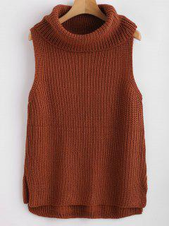 Turtleneck High Low Vest Sweater - Brown Xl