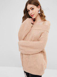 Boyfriend Off The Shoulder Pullover Sweater - Light Khaki
