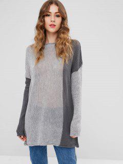Semi Sheer Drop Shoulder Sweater - Gray
