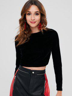 Chains Back Velvet Crop Tee - Black M