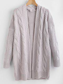 Cable Knit Open Front Cardigan - Light Gray L